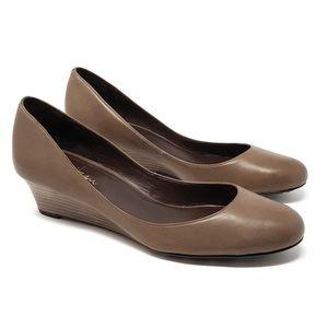 Cole Haan | Brown Leather Slip On Wedge Heel